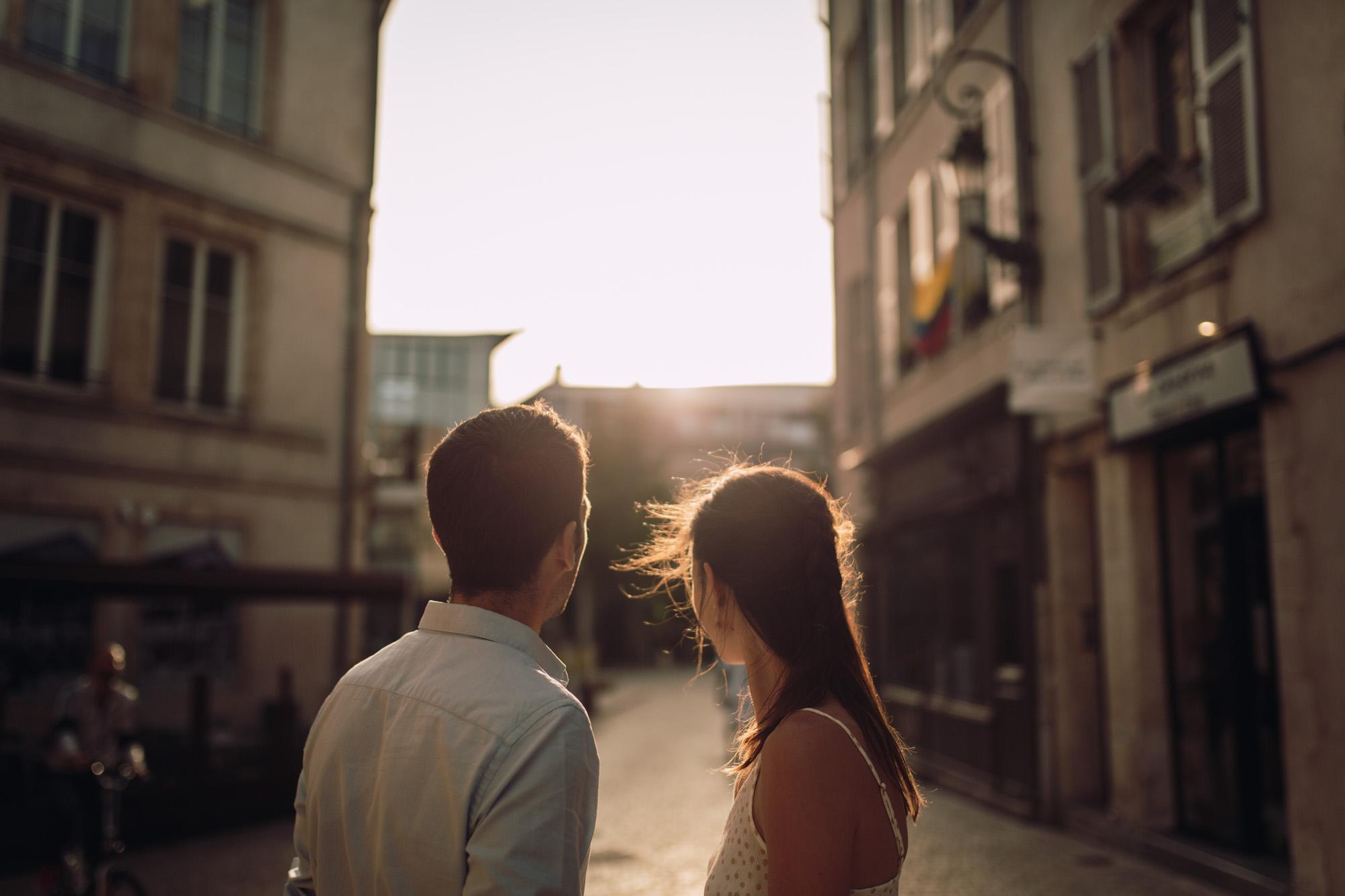 Engagement session, Orléans, Loire Valley, Street, sunset